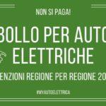 Esenzione bollo per auto elettriche 2020 regione per regione